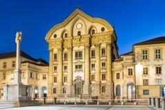 Ursuline教会,国会正方形,卢布尔雅那,斯洛文尼亚。 库存图片