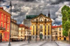 Ursuline Church av den heliga Treenighet i Ljubljana Royaltyfria Bilder