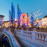 Ursuline Church av den heliga Treenighet, Ljubljan, Slovenien Royaltyfri Bild