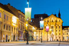 Ursuline Church, Congress Square, Ljubljana, Slovenia. Royalty Free Stock Photography