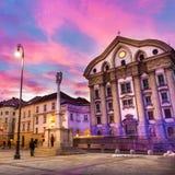 Ursuline Church van de Heilige Drievuldigheid, Ljubljan, Slovenië Royalty-vrije Stock Foto