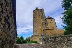 Ursulines Tower, in Autun. The Ursulines Tower, remaining element of the medieval fortress of Riveau, in Autun, Burgundy, France Royalty Free Stock Photo