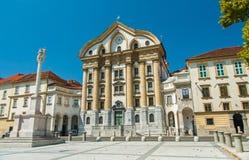 Ursulinska-Kirche, Ljubljana, Slowenien Lizenzfreies Stockfoto