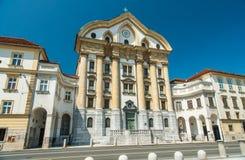 Ursulinska kyrka, Ljubljana, Slovenien Arkivbild