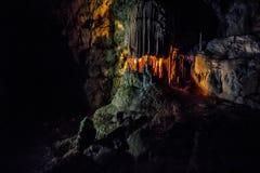 Ursus spelaeus cave in romanian mountains transilvania. APUSENI - OCTOBER 04: Hall of Ursus cave on October 05, 2015 in Apuseni, Romania. Hall of Ursus spelaeus Stock Photography