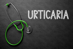Urticaria Concept on Chalkboard. 3D Illustration. Black Chalkboard with Urticaria - Medical Concept. Urticaria Handwritten Medical Concept on Chalkboard. Top Stock Images