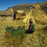 Uru indian and reed Stock Photos