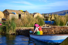 Uru people from floating Islands, lake Titicaca, Peru Royalty Free Stock Photo