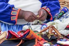 Uru woman handicraft Royalty Free Stock Image
