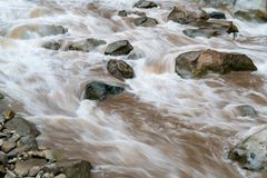 Urubamba River at Aguas Calientes in Peru. Rapids of the Urubamba River at Aguas Calientes in Peru after heavy rain royalty free stock photography