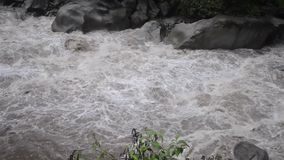 Urubamba River flow. Wild waters of Urubamba river in Peru after heavy tropical rains, panoramic footage stock footage