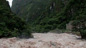 Urubamba River. In full flood, near Aqua Calientes, and running below Machu Picchu stock footage