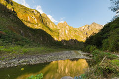 Urubamba River and Machu Picchu mountains, Peru Stock Photography