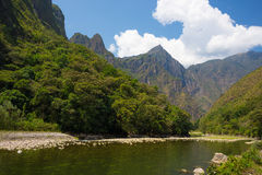 Urubamba River and Machu Picchu mountains, Peru Stock Images