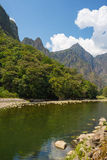 Urubamba River and Machu Picchu mountains, Peru Royalty Free Stock Photos