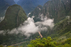 Urubamba River with morning fog near Machu Picchu in Peru Royalty Free Stock Photography