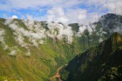 Urubamba River with morning fog near Machu Picchu in Peru Stock Image