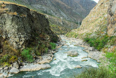 Urubamba river near Machu Picchu (Peru). Following the Andes Mountains in Peru, between Cusco and Machu Picchu Stock Images