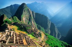 Urubamba Valley at Machu Picchu. Overlooking the Urubamba Valley at the ruins of Machu Picchu in Peru Stock Photos
