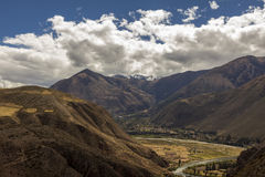 Urubamba valley peruvian Andes Cuzco Peru. Urubamba sacred valley in the peruvian Andes at Cuzco Peru stock images