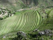 Urubamba valley terraces. Below Machu Picchu. Peru. Agriculture terraces and mountain roads stepwise of Machu Picchu in Peru Stock Photos