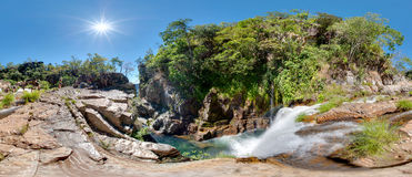 Urubu Waterfall. A 360 degrees panorama of Urubu Waterfall, one of the various falls on the Prata River, in Cavalcante-Goias-Brazil Stock Photos
