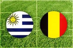 Uruguai contra o fósforo de futebol de Bélgica imagem de stock