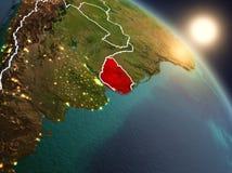 Uruguai do espaço durante o nascer do sol Imagem de Stock Royalty Free