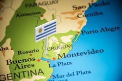 Uruguai identificou por meio de uma bandeira no mapa imagem de stock royalty free
