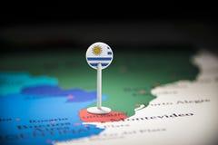 Uruguai identificou por meio de uma bandeira no mapa fotos de stock