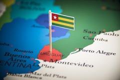 Uruguai identificou por meio de uma bandeira no mapa imagens de stock