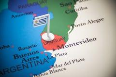 Uruguai identificou por meio de uma bandeira no mapa imagem de stock