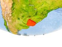 Uruguai no vermelho no modelo de terra Fotografia de Stock