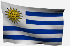 Uruguay 3d flag. Isolated on white background Royalty Free Stock Image