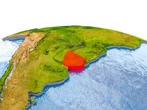 Uruguay auf Modell von Erde Stockbild
