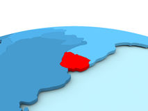 Uruguay on blue globe Stock Photo