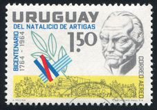 Artigas bust. URUGUAY - CIRCA 1964: stamp printed by Uruguay, shows Artigas bust, circa 1964 Royalty Free Stock Photography