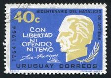 Artigas Bust. URUGUAY - CIRCA 1965: stamp printed by Uruguay, shows Artigas Bust, Quotation, circa 1965 Royalty Free Stock Photography