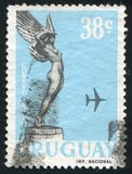 Flight from Monument to Fallen Aviators. URUGUAY - CIRCA 1959: stamp printed by Uruguay, shows Flight from Monument to Fallen Aviators, circa 1959 Royalty Free Stock Image