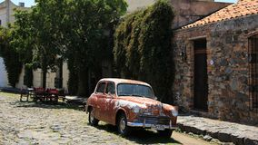 South America 2013. Uruguay - Colonia del Sacramento - old car on the street in October 2013 royalty free stock images