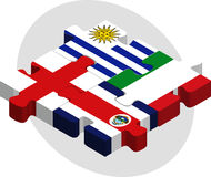 Uruguay, Costa Rica, England and Italy Flags in puzzle Stock Photo
