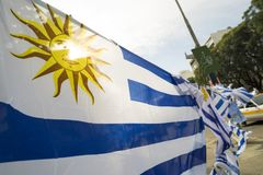 Uruguay country flag in Uruguayan city street Royalty Free Stock Photography