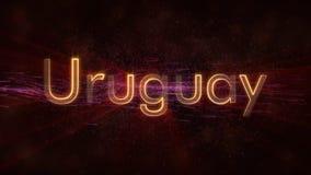 Uruguay - de Glanzende het van een lus voorzien animatie van de de naamtekst van het land stock foto