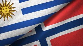 Uruguay en Noorwegen twee vlaggen textieldoek, stoffentextuur vector illustratie