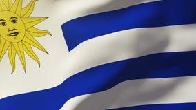 Uruguay fahnenschwenkend im Wind Schleifungssonnenaufgänge stock footage