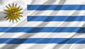 Uruguay fahnenschwenkend mit dem Wind, Illustration 3D Stockbilder