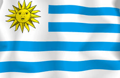 Uruguay Flag. Flag of Uruguay waving in the wind vector illustration