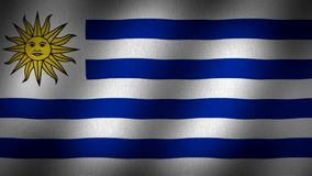 Uruguay flag. Animated, waving flag composed by horizontal lines in blue, and white whit the image of a sun with a face in it in the top left side, fabric stock video