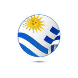 Uruguay flag button with shadow on a white background. Vector. Stock Image