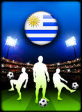 Uruguay Flag Button with Soccer Match in Stadium Stock Images